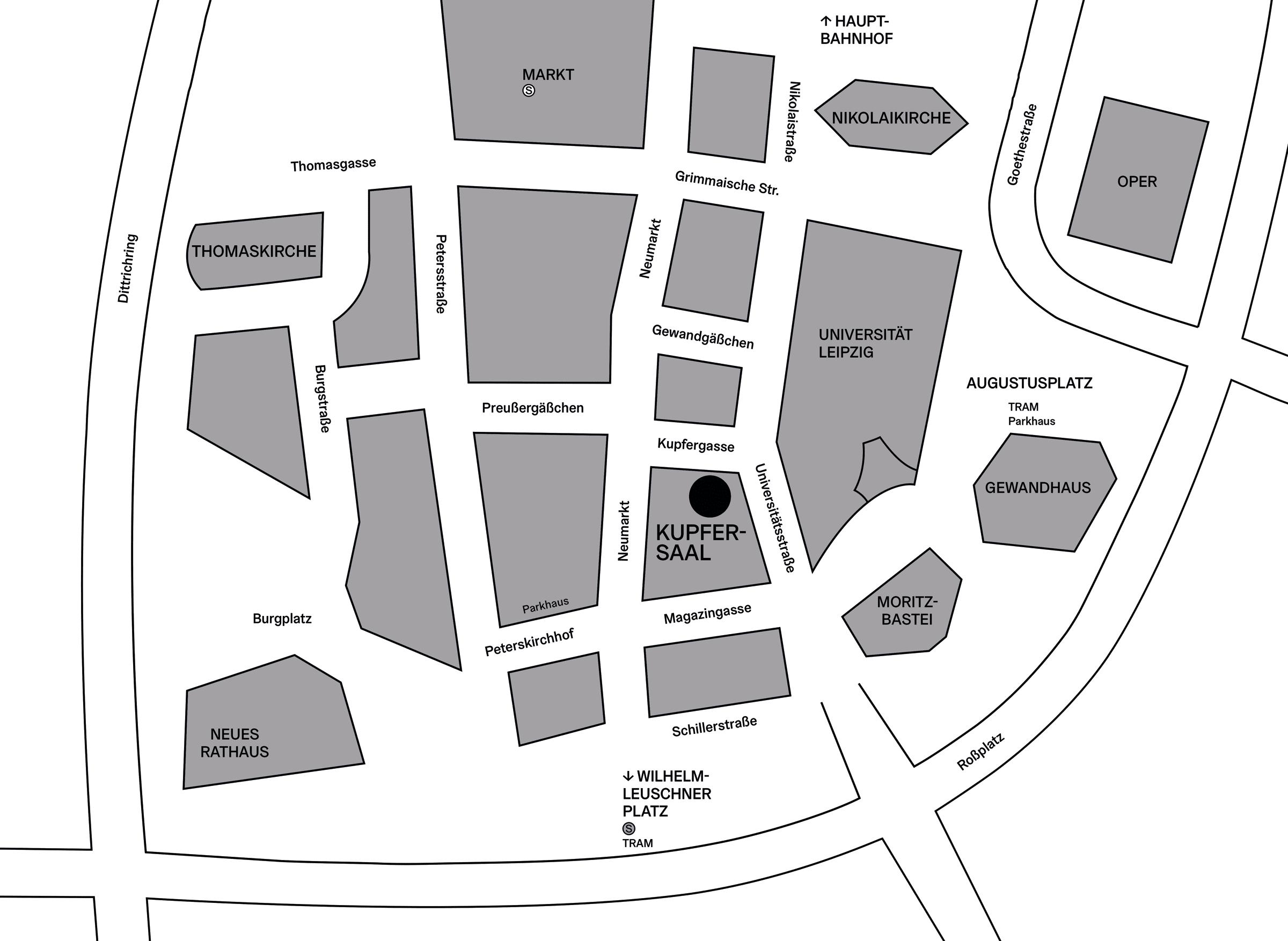 Lageplan Kupfersaal, Kupfergasse 2, 04109 Leipzig